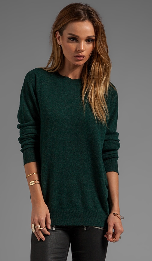Distressed Merino Blend Knit Pullover