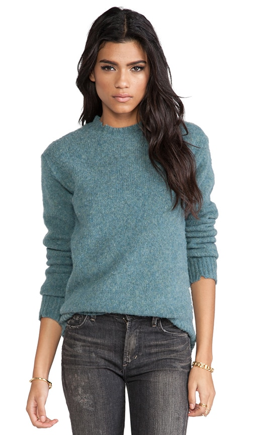 Distressed Jersey Lined Wool Crewneck Pullover