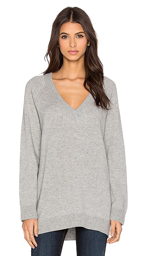 T by Alexander Wang Cashwool Deep V-Neck Sweater in Heather Grey
