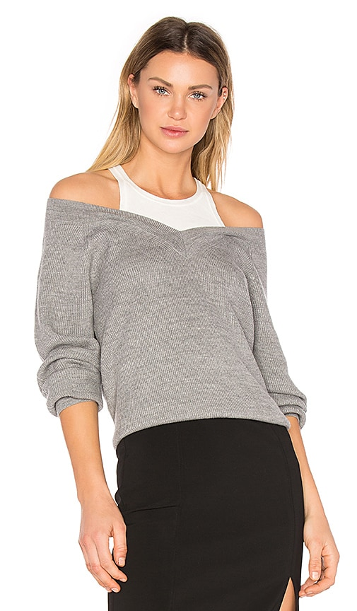 6165dc5014cd T by Alexander Wang Merino V Neck Sweater with Inner Tank in Heather ...