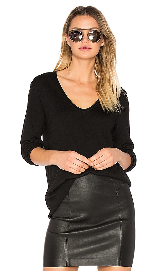 T by Alexander Wang Merino Jersey V Neck Pullover in Black
