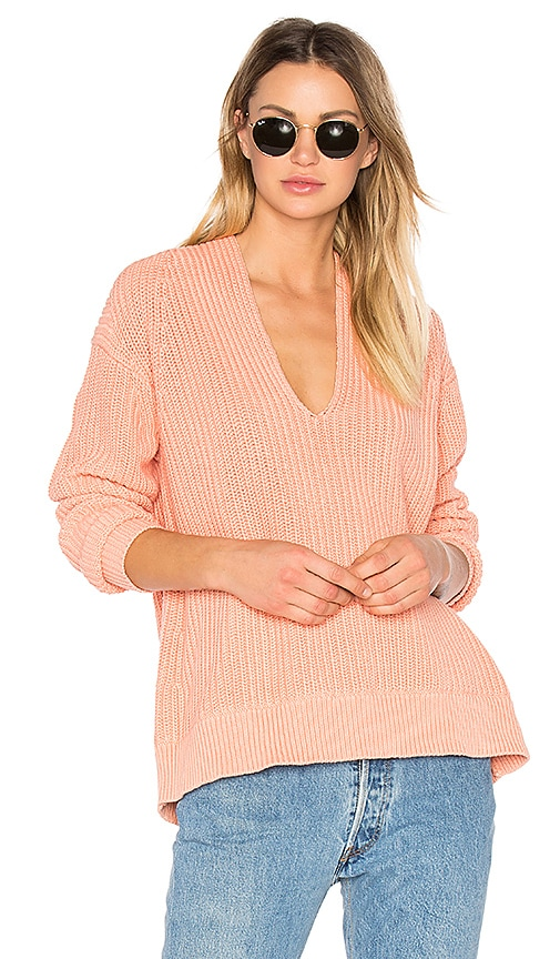T by Alexander Wang Deep V Neck Pullover in Coral