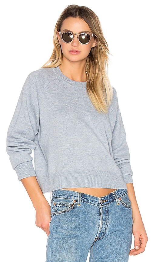 T by Alexander Wang Cashwool Crewneck Crop Sweater in Blue