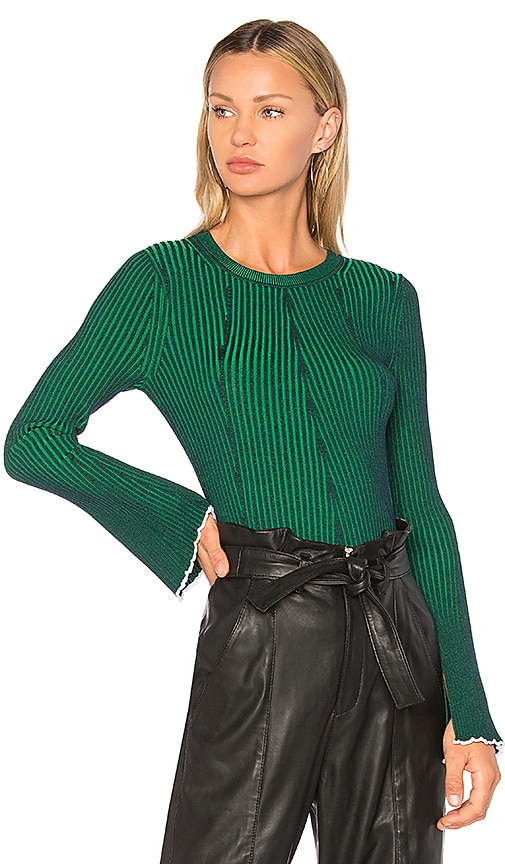 T by Alexander Wang Flared Sleeve Sweater in Green