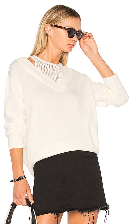 T by Alexander Wang Deep V Sweater with Inner Tank in White