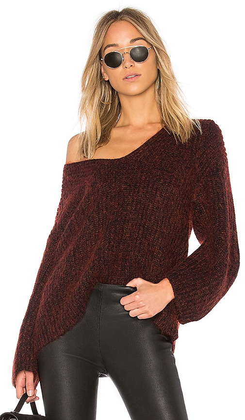 T by Alexander Wang Marl V Neck Sweater in Red