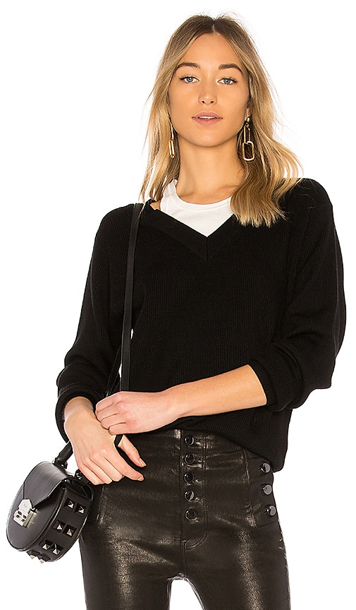 T by Alexander Wang Off the Shoulder Sweater with Inner Tank in Black & White
