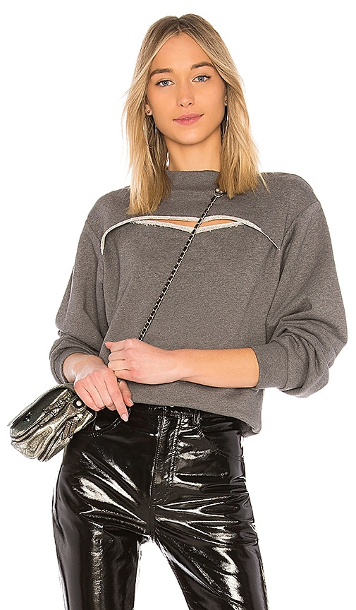 T by Alexander Wang Slit Front Sweatshirt in Gray