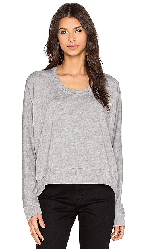 T by Alexander Wang Enzyme Washed French Terry Sweatshirt in Heather Grey