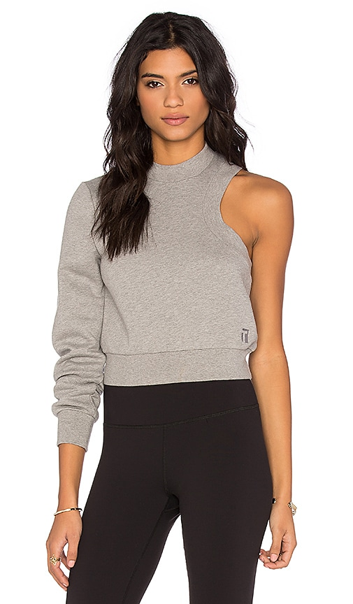 T by Alexander Wang Top Dyed Fleece One Sleeve Sweatshirt in Heather Grey