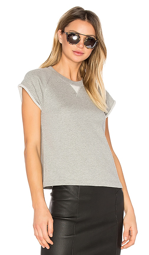 T by Alexander Wang French Terry Raglan Sweatshirt in Gray