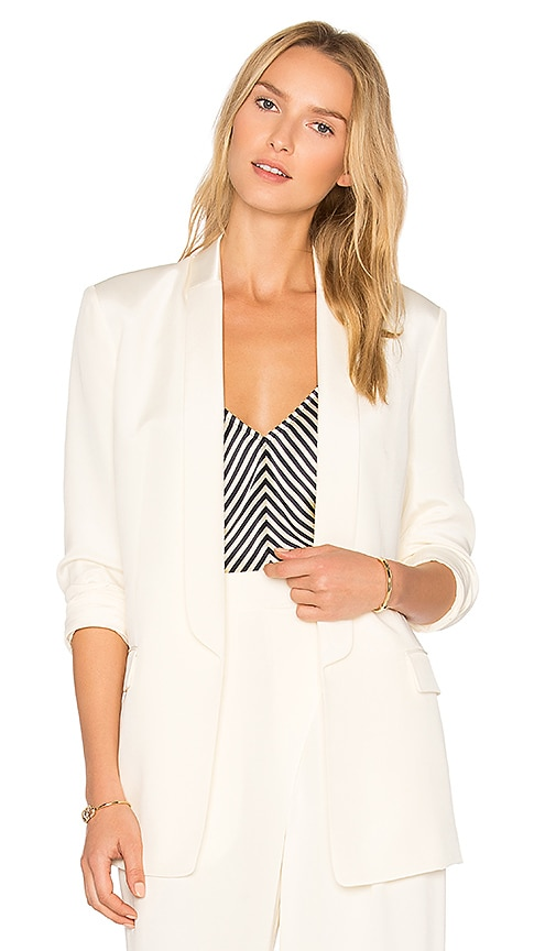 T by Alexander Wang Charmeuse Blazer in Ivory