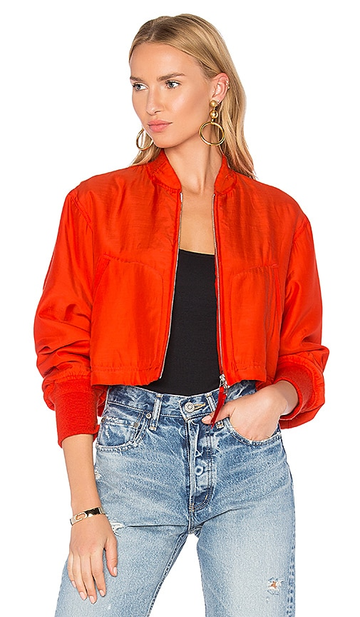 T by Alexander Wang Crop Bomber Jacket in Red