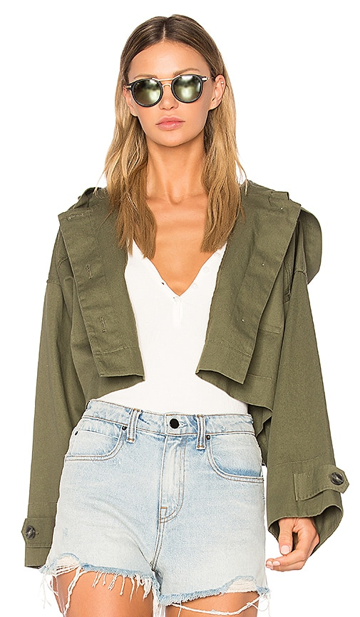 T by Alexander Wang Crop Hooded Jacket in Green