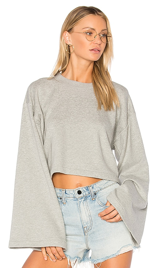 T by Alexander Wang Tie Back Crop Sweatshirt in Gray