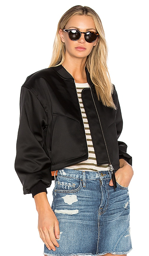 T by Alexander Wang Cropped Bomber Jacket in Black