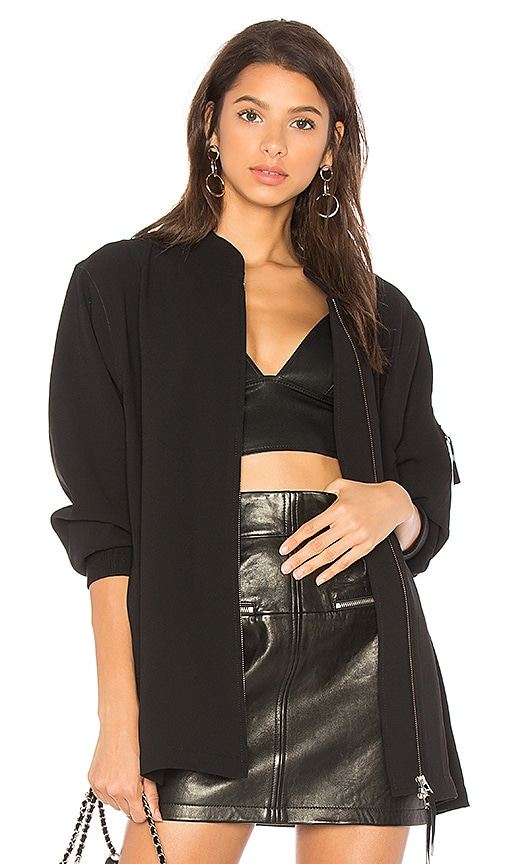 T by Alexander Wang Satin Back Crepe Bomber in Black
