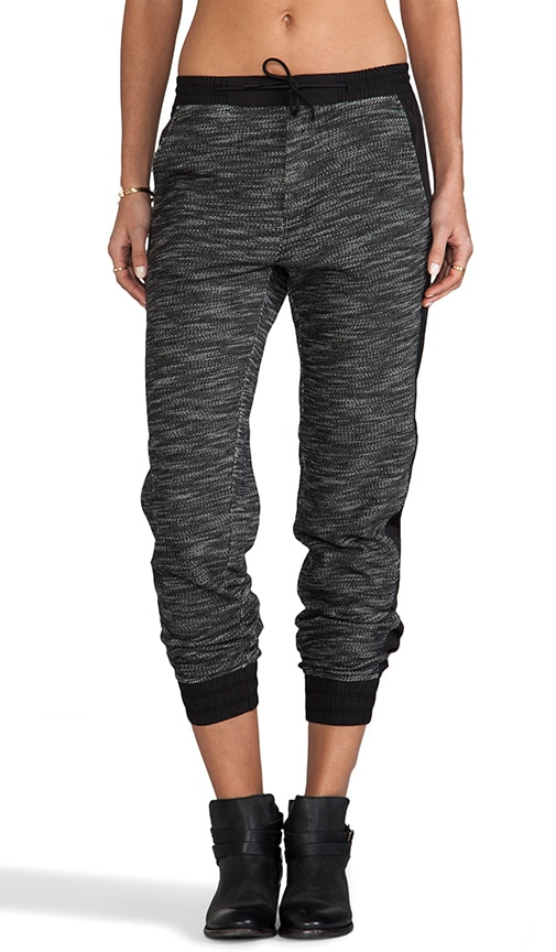 French Terry Track Pants With Matte Nylon Detail
