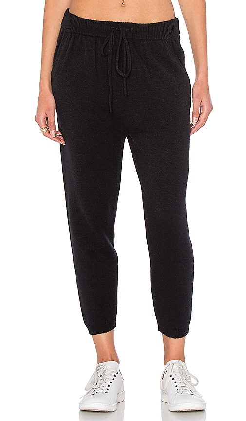 T by Alexander Wang Cashwool Drop Crotch Sweatpant in Black