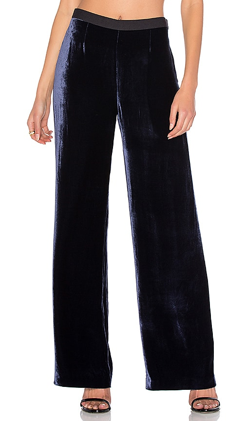 T by Alexander Wang Silk Velvet Wide Leg Pant in Navy