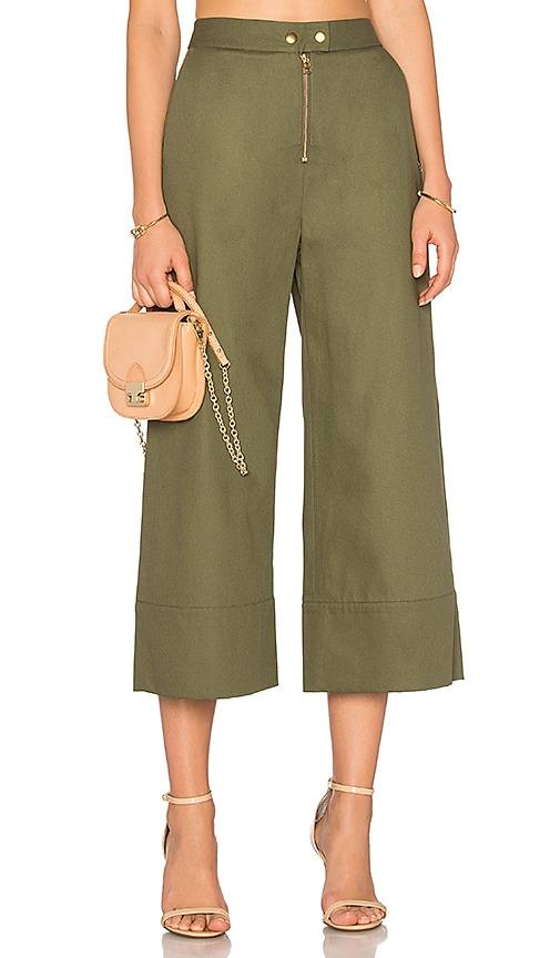 T by Alexander Wang Crop Pant in Green