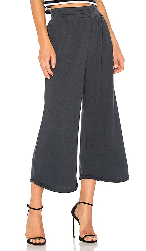 T by Alexander Wang Wideleg Crop Pant in Navy