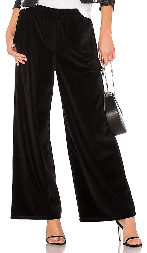T by Alexander Wang Velour Wide Leg Pant in Black