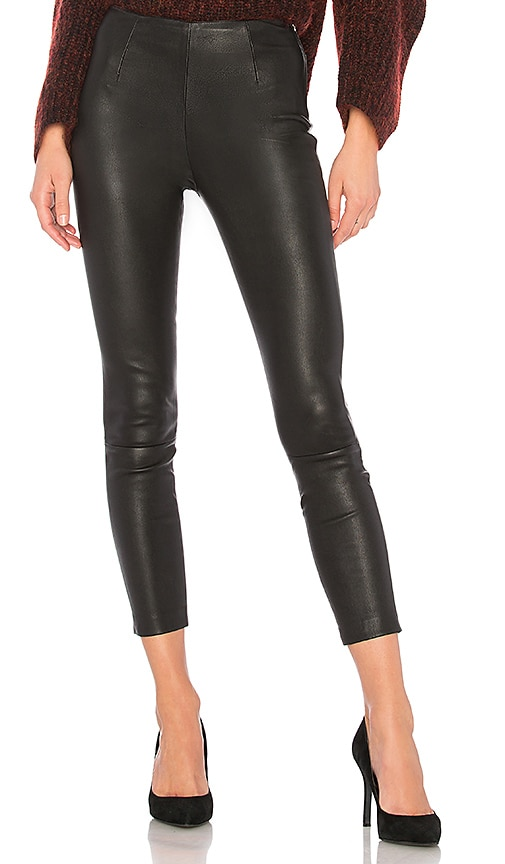 T by Alexander Wang Crop Leather Legging in Black