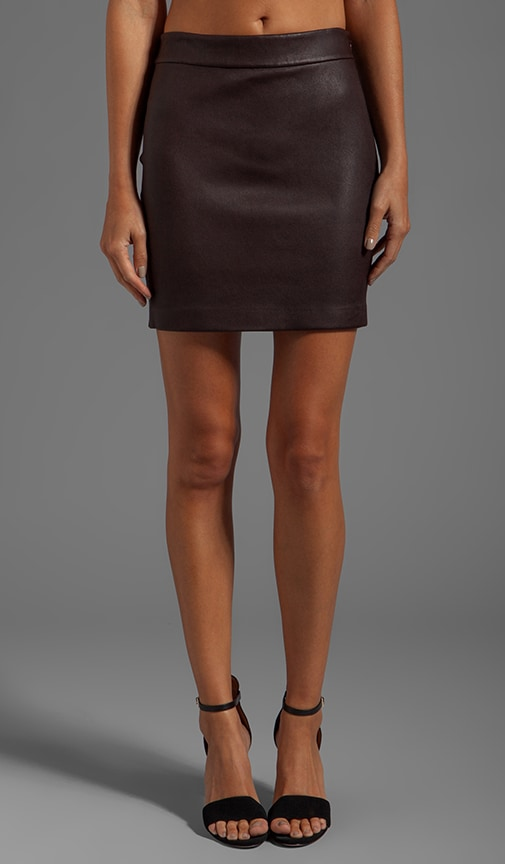 Stretch Leather High Waisted Skirt