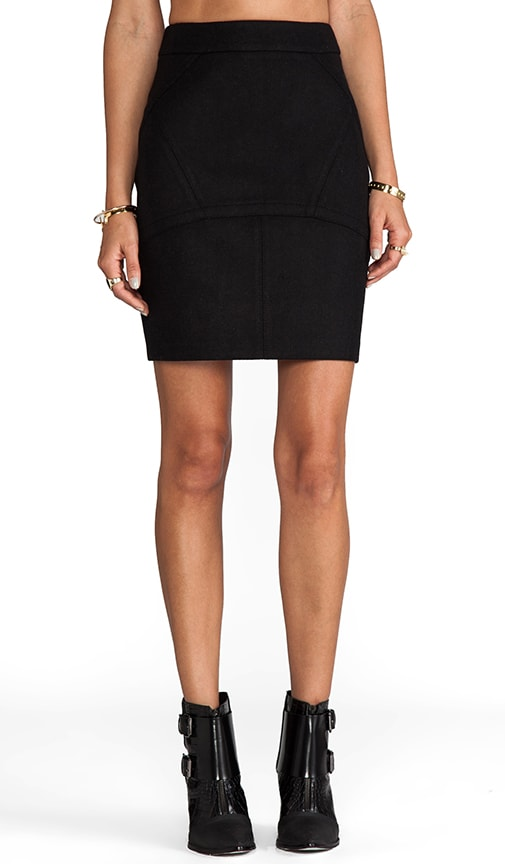 Wool Neoprene Back Flutter Skirt