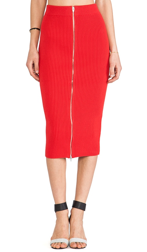 Rib Knit 2 Way Zip Long Skirt