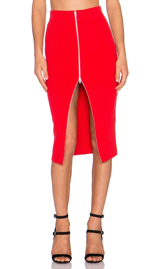 T by Alexander Wang 2X2 Rib Zip Pencil Skirt in Pop