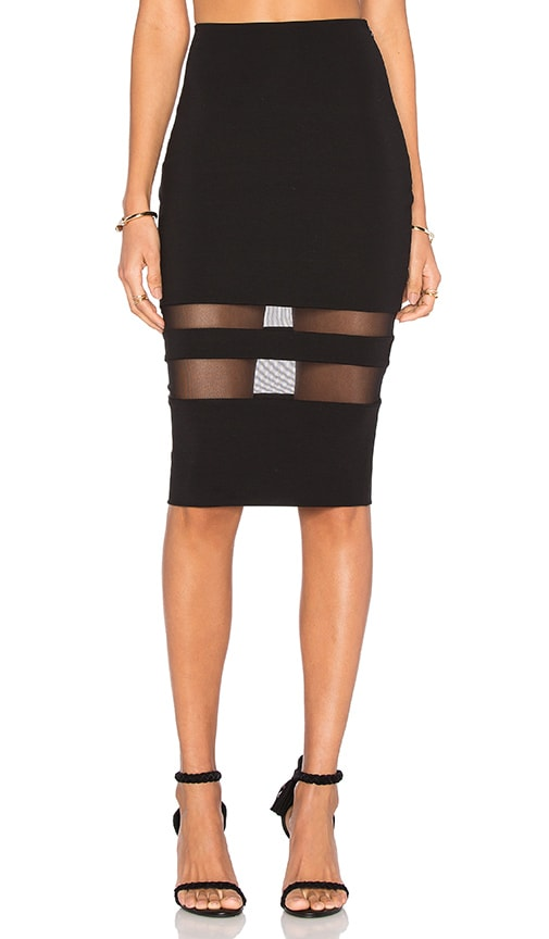 Mesh Stripe Pencil Skirt