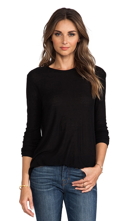 T by Alexander Wang Slub Classic Long Sleeve Tee in Black