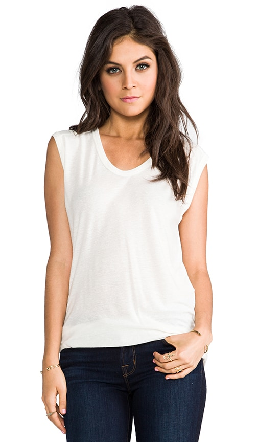 T by Alexander Wang Slub Classic Muscle Tee in Ivory