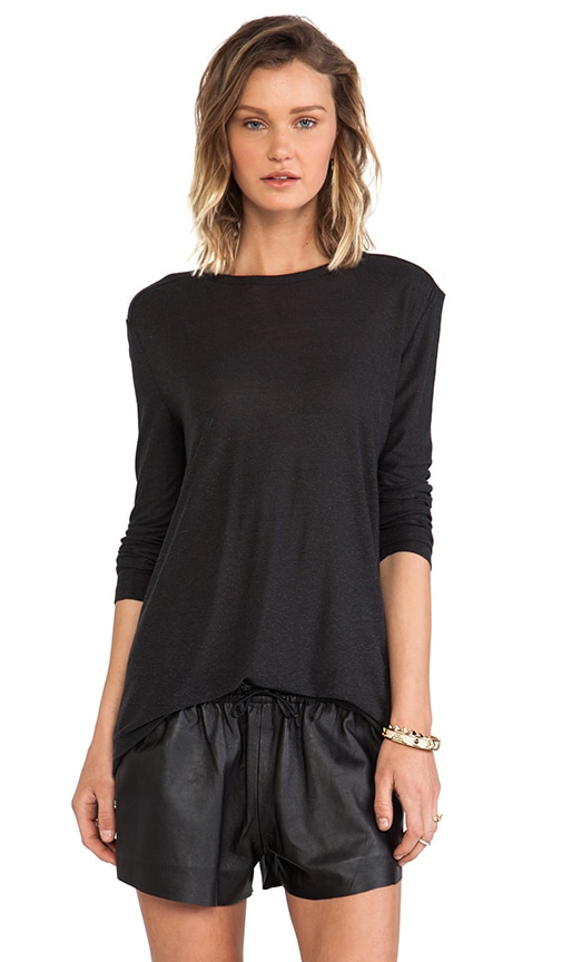 T by Alexander Wang Slub Classic Long Sleeve Tee in Charcoal