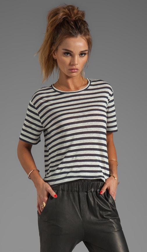 T-shirt rayé à manches courtes en lin
