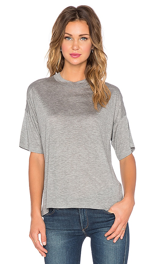 T by Alexander Wang Viscose Jersey Drop Shoulder Tee in Heather Grey