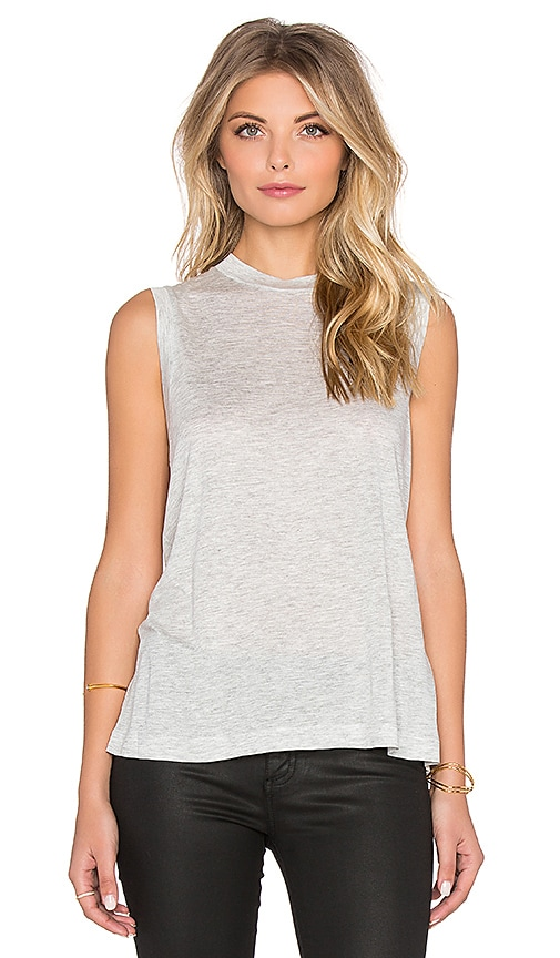 T by Alexander Wang Viscose Jersey High Neck Flared Tank in Gray