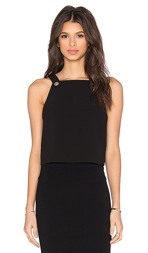 T by Alexander Wang Dobby Poly Twill Crop Top in Black