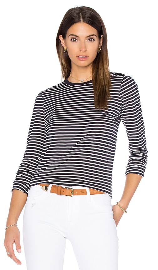 T by Alexander Wang Logo Crewneck Long Sleeve Top in Navy & Ivory