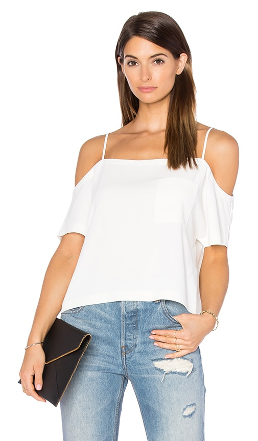 T by Alexander Wang Self Straps Off The Shoulder Top in Ivory
