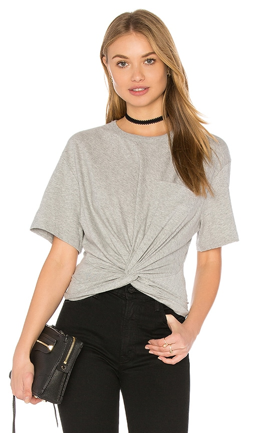 T by Alexander Wang Front Twist Short Sleeve Tee in Gray