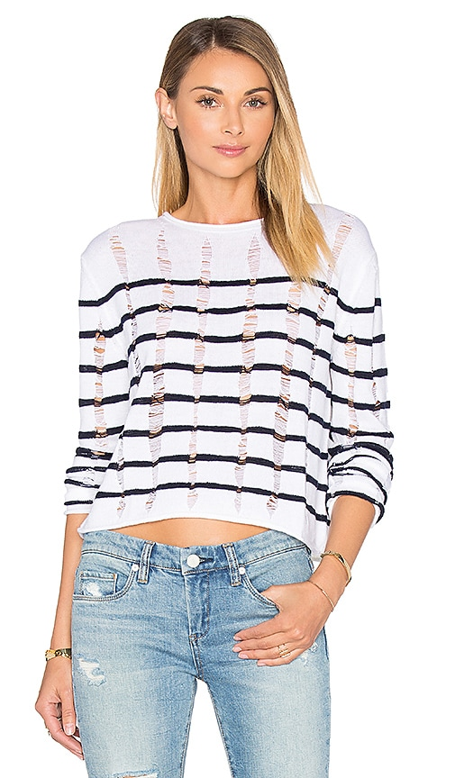 T by Alexander Wang Cropped Long Sleeve Top in White