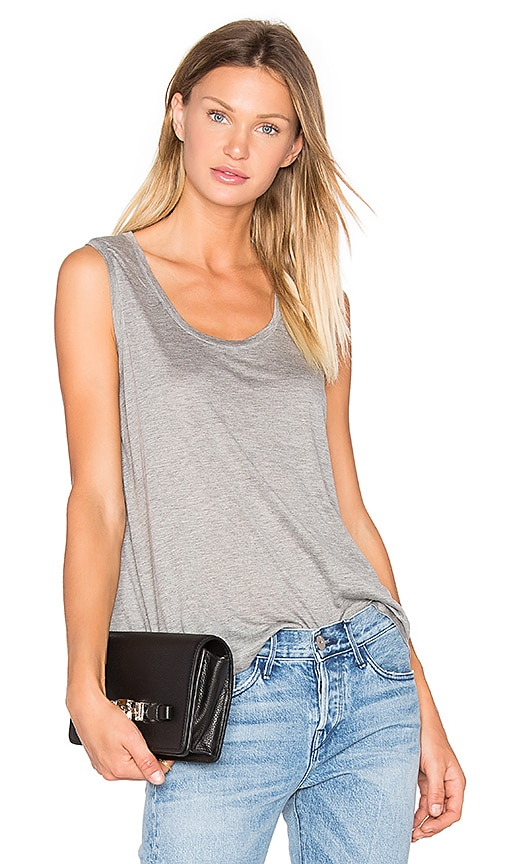 T by Alexander Wang Classic Low Neck Flared Tank in Gray