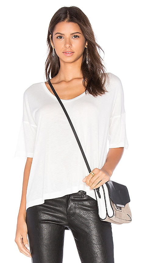T by Alexander Wang Classic Low Neck Tee in White