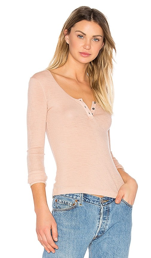 T by Alexander Wang Sheer Wooly Henley in Blush