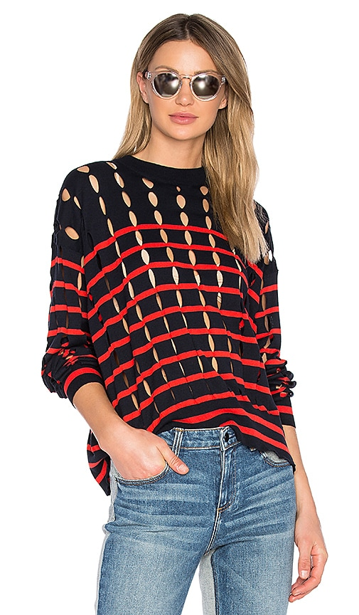T by Alexander Wang Cut Out Sweater in Red