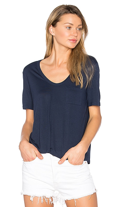 T by Alexander Wang Crop Tee in Navy