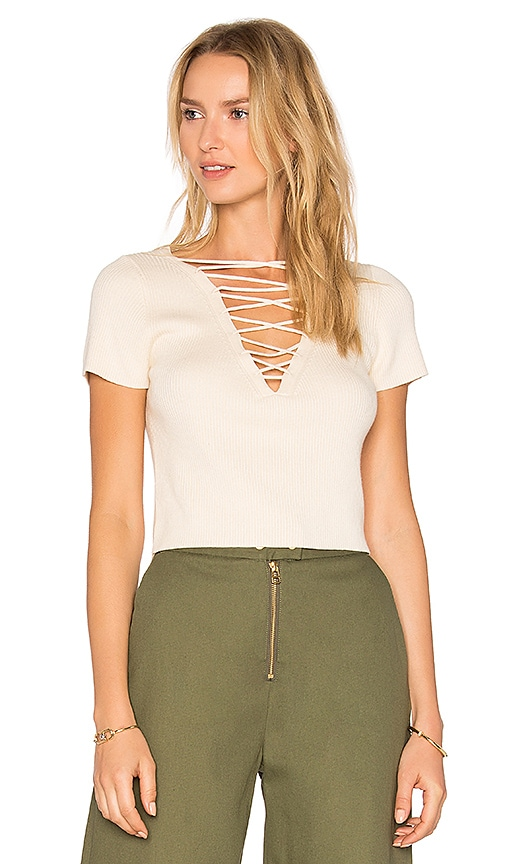 T by Alexander Wang Lace Up Top in Beige